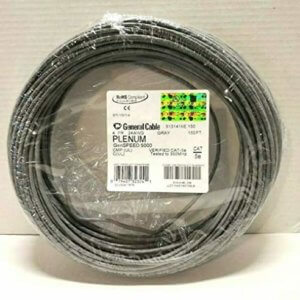 General Cable Gray Plenum Cat 5E Ethernet Cable 150′ Roll