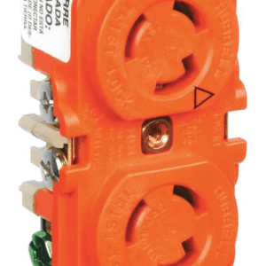 Hubbell Wiring Device IG4700A SpikeShield Twist-Lock Isolated Ground Duplex Receptacle, Back And Side Wired, 125V, 15A, 2-Pole, 3-Wire, Orange